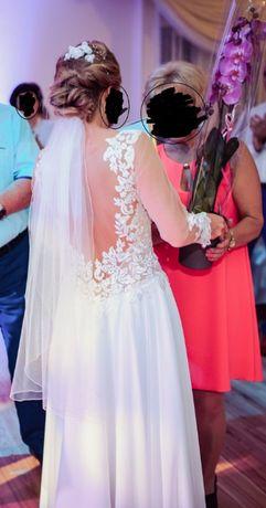 Welon krótki kaskadowy ślub wesele