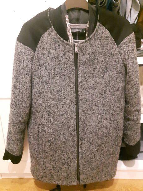 House płaszcz szary melanż krótki sportowy czarne wstawki r. 36/38 po