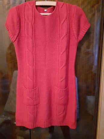 Czerwona sukienka a la wełniana r.42/44