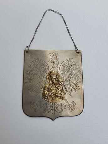 Unikat przedwojenny ryngraf patriotyczny sygnowany srebro Unger Lwów