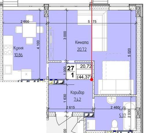 1к квартира 44 м2 з можливістю перепланування
