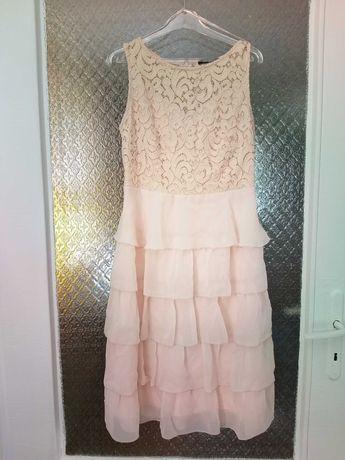 Wizytowa sukienka z falbanami r.36