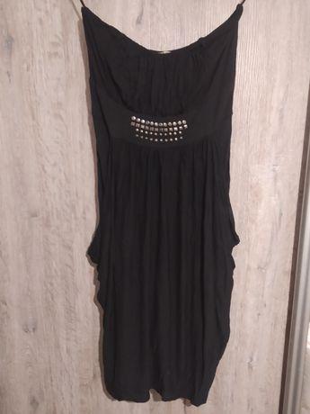 Czarna sukienka bombka kieszenie dżety M