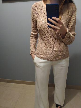 Sweter beżowy ażurowy