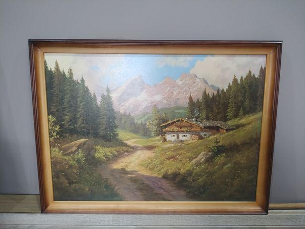 Górski obraz w drewnianej ramie