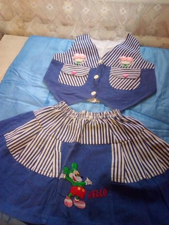 Костюм юбка с жилетом летний на девочку 5 лет