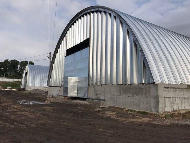 Ангари аркові безкаркасні, зерносховища, склади