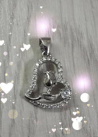 Серебряная подвеска Сердце - НОВАЯ (Золотой век)