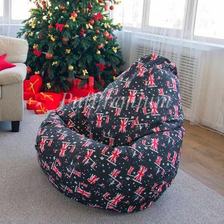 Кресло-мешок COTTON ПРИНТ, пуф груша, натуральные материалы