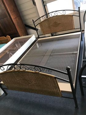 Piękne stylowe łóżko ratanowe łoże metalowe rattan mocne 140x200 DOWÓZ