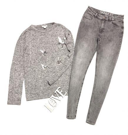 Цена за комплект!Фирменная одежда H&M 13-14лет свитер+джинсы