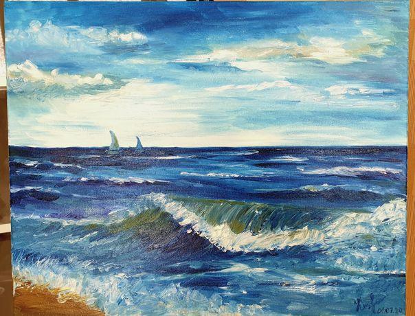 """Картина маслом """"Морская волна"""" 50×40см"""