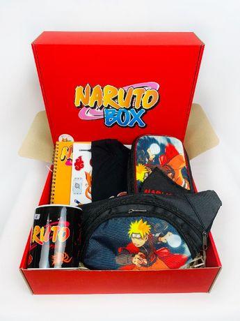 Naruto набор - Подарочный Бокс Наруто Подарок Бананка Футболка Пенал