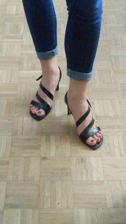 Sandałki na obcasie, skóra, czarne, jak nowe, rozm.40