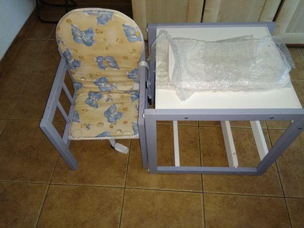 Krzesełko do karmienia drewniane 3w1