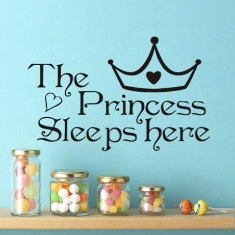 Наклейка Принцесса спит тут- в детскую комнату. Стикеры на стены