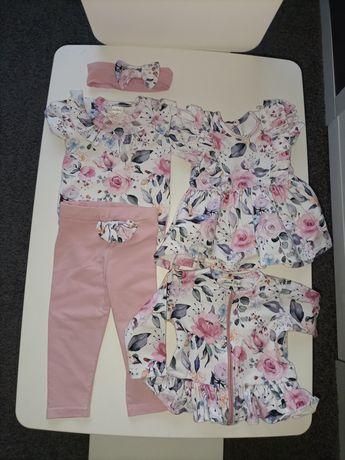 Komplet ubrań dla dziewczynki Gamex - spodnie, bluza, sukienka, body