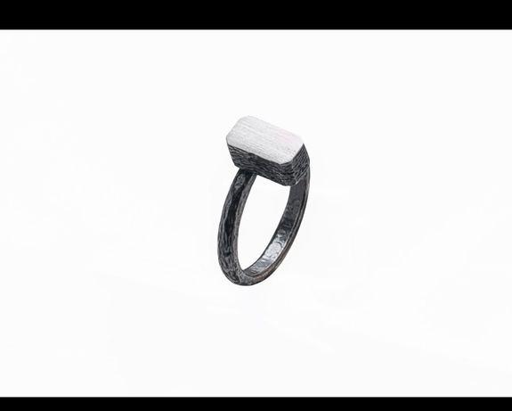 Серебряное кольцо геометрия минимализм