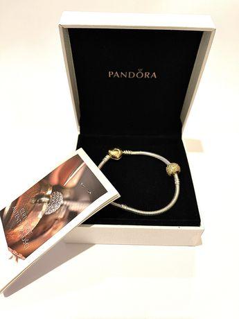 Bransoletka Pandora Moments i charms Zlota kula Pavé srebro okazja