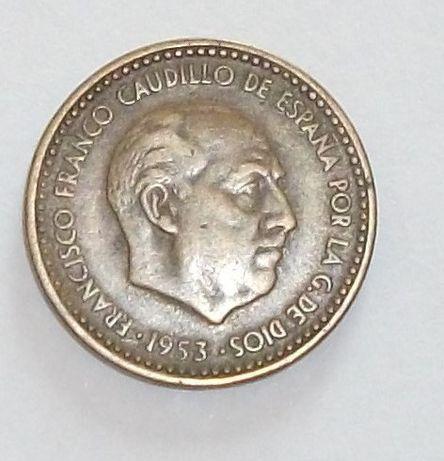 Moeda rara de una peseta de 1953 [1962] con Caudillo