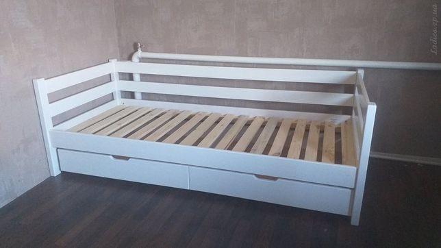 Белая деревянная подростковая кровать Нотка