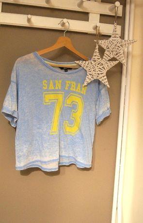 mietowy niebieski turkusowy t-shirt croptop bluzka san francisco 73 36