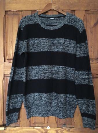 Sweter męski szary z czarnym r XL stan idealny