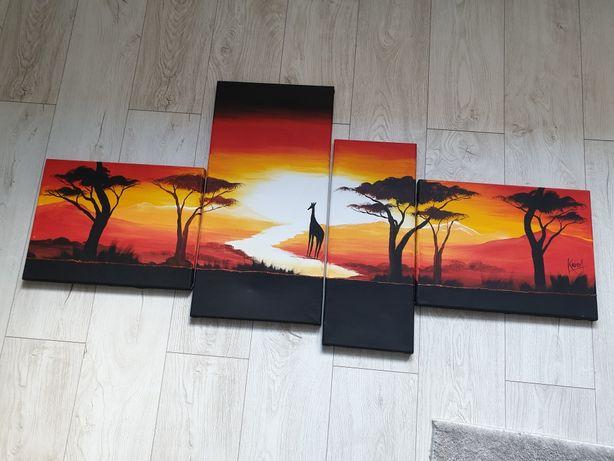 Obraz malowany 4- częściowy