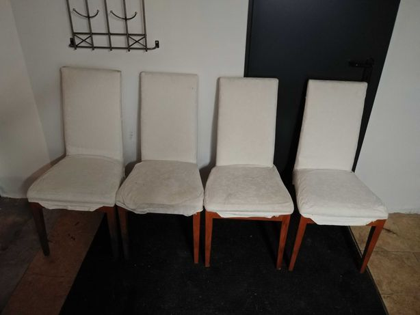 4 krzesła biale pokrowce jadalnia kuchnia wygodne