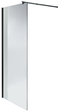 Wolnostojąca czarna ścianka prysznicowa WALK-IN 120x190cm szkło 8 mm