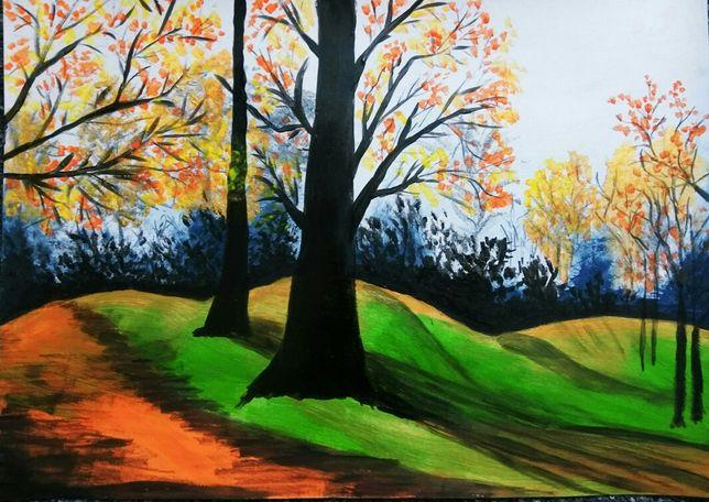Obraz akryl jesień las krajobraz drzewa zadanie z plastyki do szkoły