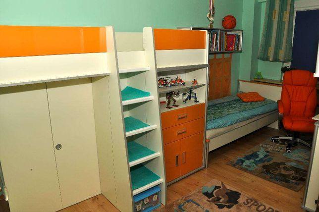 Młodzieżowe ŁÓŻKO wielofunkcyjne piętrowe z szafą + materac gratis