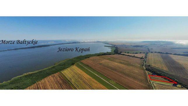 Działka budowlana widok na jezioro morze 20 min. spacer Kopań, Darłowo