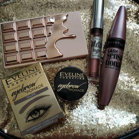 Тени Makeup revolution, помадка для бровей Eveline,тени Luxvisage