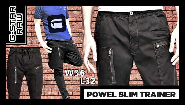 Bojówki Treningowe G-Star Raw Powel Slim DK Black W36L32 Strecz Twill