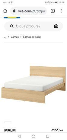 Cama Ikea Malm+estrado Luroy+colchão Hovag