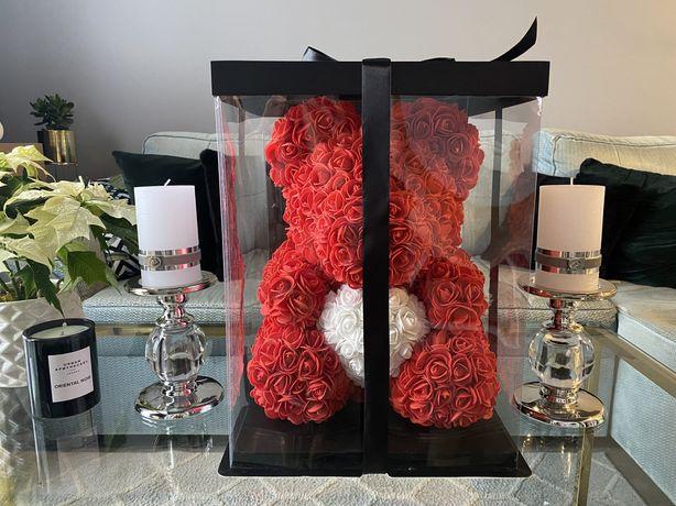 Miś z róż 40cm rose bear walentynki prezent Wawa