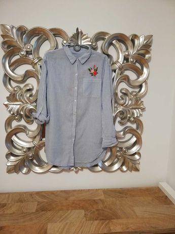 Koszula asymetryczna oversizowa z haftem na plecach
