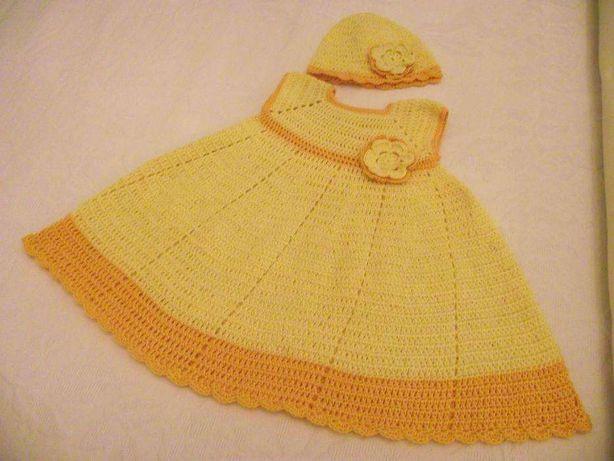 Vestido croché amarelo para menina 12 meses NOVO