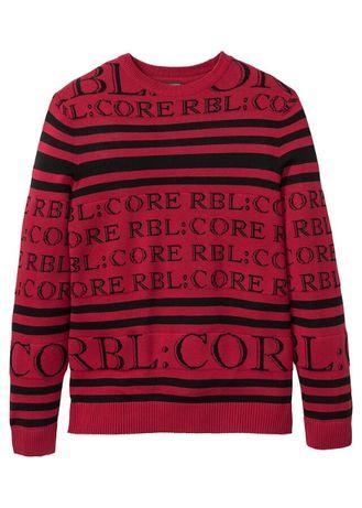 Świetny duży męski sweter z wrabianym wzorem 60/62