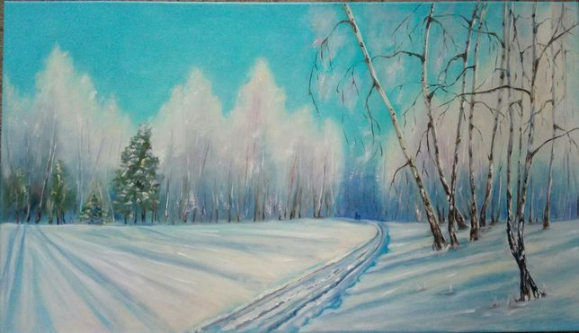 Картина маслом. Зимний пейзаж. Лес.
