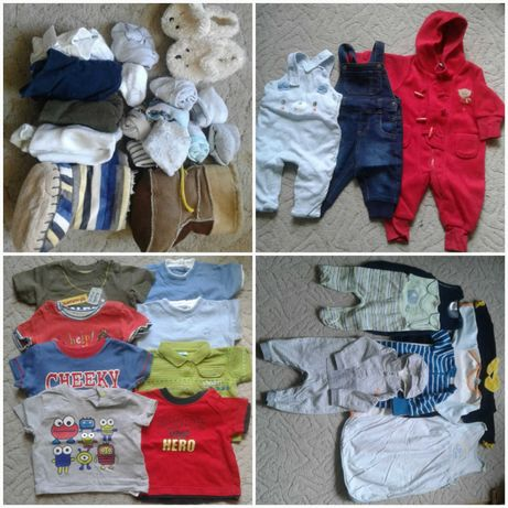 Paka ubrań dla chłopca w rozmiarze 62, chusta i ręczniki kąpielowe