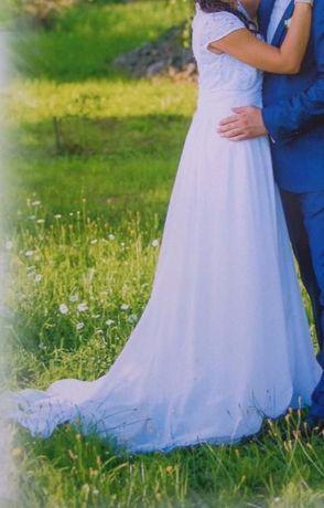Prześliczna suknia ślubna z trenem i bolerkiem S