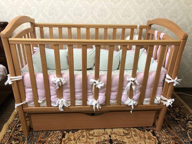Кроватка дитяча Верес «Соня» Вільха + матрац+ бортики