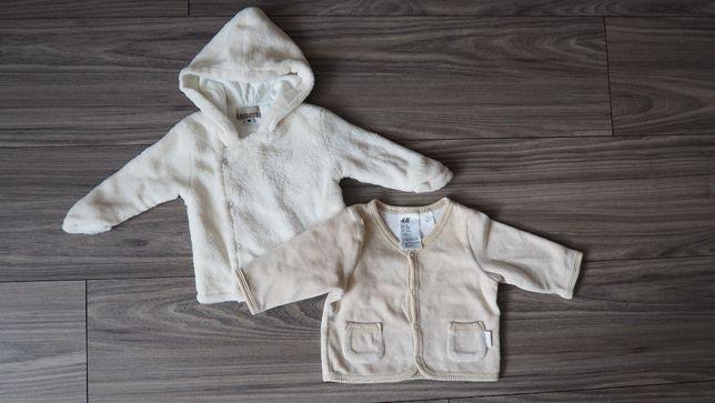 Zestaw H&M bluza beżowa bluza miś cieplutka kremowa 0-3M 62