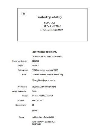 Instrukcja obsługi ładowarka Liebherr PR 724 PL
