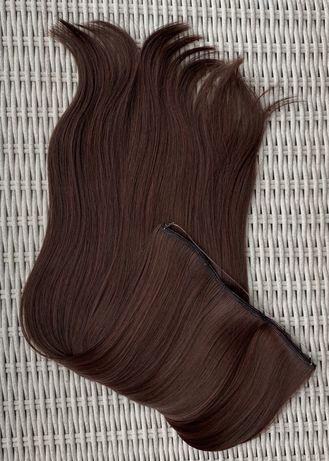 Włosy doczepiane, ciemny brąz, flip in, harirband