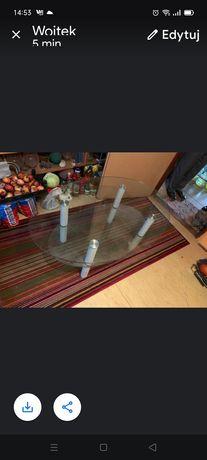 Szklany stół ława plus półka