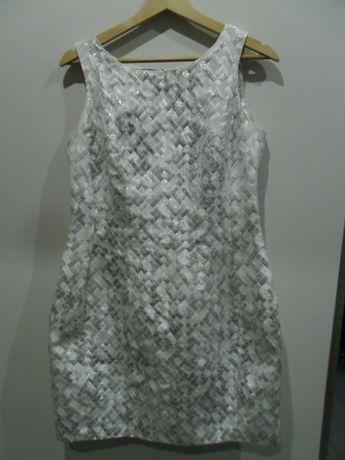 Elegancka sukienka błyszcząca srebrna rozmiar 40