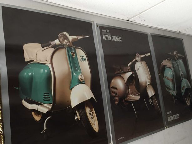 """Posters """"Vintage Scooter"""" - 3 unidades"""